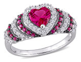 1 3/4 Carat (ctw) Lab Created Ruby & White Sapphire Heart Ring in Sterling Silver