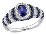 1.50 Carat (ctw) Lab Created Blue Sapphire & White Sapphire Ring in Sterling Silver