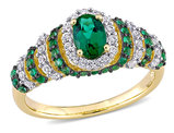 1.20 Carat (ctw) Lab Created Emerald & Created White Sapphire Ring in Yellow Plated Sterling Silver