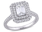 1.60 Carat (ctw) Lab Created Emerald-Cut Moissanite Egagement Ring in 10K White Gold