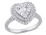 2.60 Carat (ctw) Lab Created Moissanite Heart Promise Ring in 10K White Gold