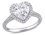 3.00 Carat (ctw) Lab-Created Moissanite Heart Engagement Ring in 14k White Gold with 1/4 carat (ctw) Diamonds (G-H, I1;I2)