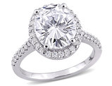5 3/8 Carat (ctw) Synthetic Moissanite Halo Engagement Ring 10K White Gold
