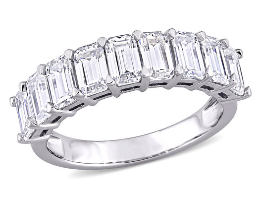Emerald Cut Moissanite Anniversary Wedding Band 2.70 Carat (ctw) in 10K White Gold