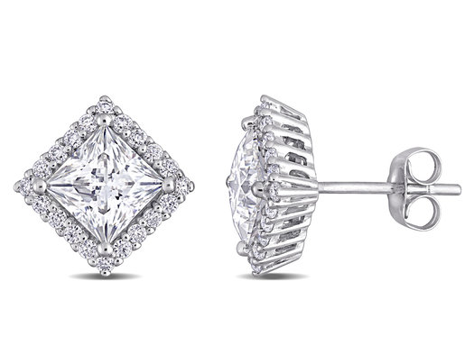 2.80 Carat (ctw) Synthetic Princess-Cut Moissanite Solitaire Earrings in 10K White Gold