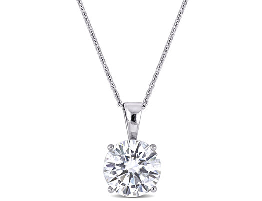 2.00 Carat (ctw) Synthetic Moissanite Solitaire Pendant Necklace in 14K White Gold