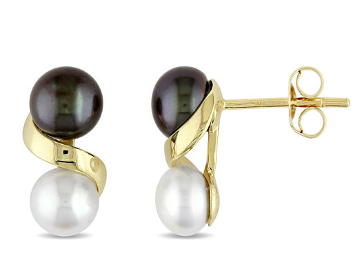 5.5-6 mm Black and White Cultured Freshwater Pearl Earrings in 10K Yellow Gold