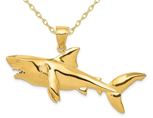 Large Shark Charm Pendant Necklace in 14K Yellow Gold with Chain