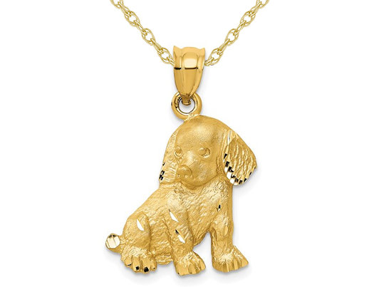 14K Yellow Gold Puppy Dog Charm Pendant Necklace with Chain