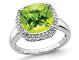 Large 5.40 Carat (ctw) Natural Peridot Ring in 14K White Gold with Diamonds
