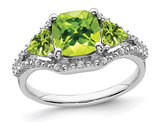Green Peridot Ring 2.50 Carat (ctw) in 10K White Gold with Accent Diamonds