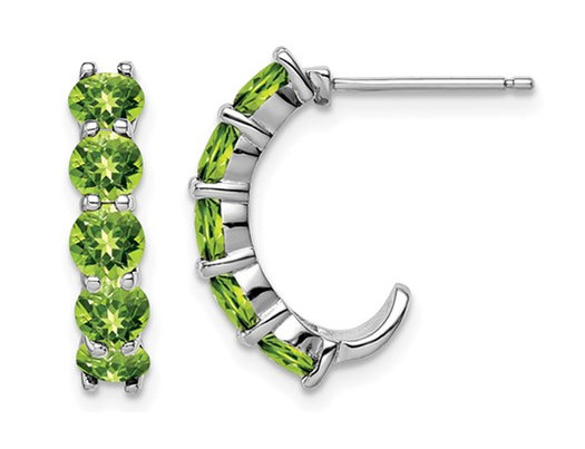 2.30 Carat (ctw) Natural Peridot J-Hoop Earrings in Sterling Silver