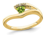 1/4 Carat (ctw) Trillion-Cut Solitaire Peridot Ring in 14K Yellow Gold
