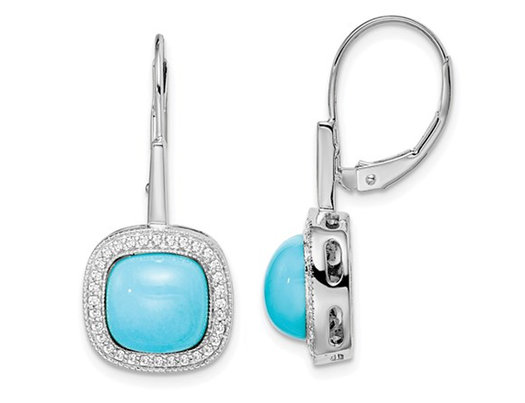 4.50 Carat (ctw) Turquoise Dangling Leverback Earrings in 14K White Gold with Diamonds 1/4 carat (ctw)