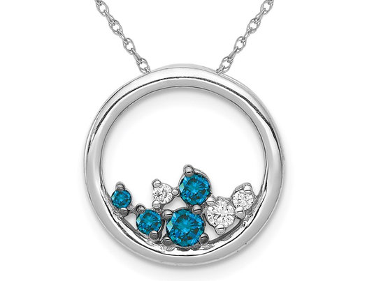 1/3 Carat (ctw) Blue and White Diamond Circle Pendant Necklace in 14K White Gold with Chain
