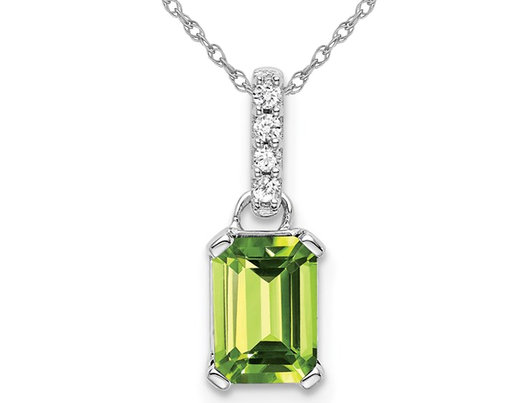 1.00 Carat (ctw) Emerald Cut Peridot Drop Pendant Necklace in 10K White Gold with Chain