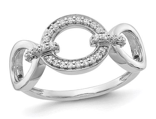 1/8 Carat (ctw) Diamond Fancy Oval Ring in 14K White Gold