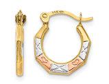 14K Yellow Gold Fancy Small Hoop Earrings (2.00mm)
