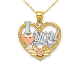 14K Yellow, White and Rose Gold  - I Love You - Pendant Necklace Charm with Chain