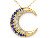 1/5 Carat (ctw) Natural Blue Sapphire and Diamond Moon Charm Pendant Necklace in 14K Yellow Gold with Chain