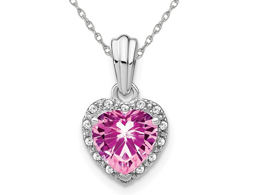 1.50 Carat (ctw) Lab-Created Pink Sapphire Heart Pendant Necklace in Sterling Silver with Chain