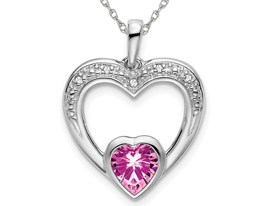 2/3 Carat (ctw) Lab Created Pink Sapphire Heart Pendant Necklace in 14K White Gold with Chain