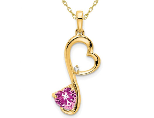 3/5 Carat (ctw) Lab-Created Pink Sapphire Heart Pendant Necklace in 14K Yellow Gold with Chain