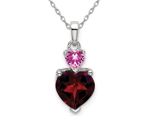 1.40 Carat (ctw) Garnet Heart and Lab Created Pink Sapphire Pendant Necklace in 14K White Gold with Chain