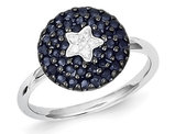 Dark Blue Sapphire Cluster Star Ring 1.00 Carat (ctw) in Sterling Silver