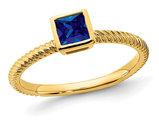 1/4 Carat (ctw) Princess Cut Blue Sapphire Ring in 14K Yellow Gold