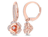1/5 Carat (ctw) Diamond Flower Dangle Earrings 10K Rose Pink Gold