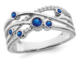 1/8 Carat (ctw) Natural Blue Sapphire Ring in 14K White Gold with Diamonds