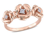 1/10 Carat (ctw) Lab-Created White Sapphire 3-stone Rose Flower Ring in Rose Plated Silver