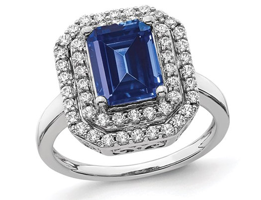 2.50 Carat (ctw) Lab-Created Blue Sapphire Engagement Ring in 14K White Gold with Lab Grown Diamonds