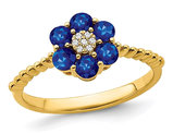 3/5 Carat (ctw) Blue Sapphire Flower Ring in 14K Yellow Gold