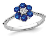 3/5 Carat (ctw) Blue Sapphire Flower Ring in 14K White Gold