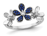 1.15 Carat (ctw) Blue Sapphire Flower Ring in 14K White Gold