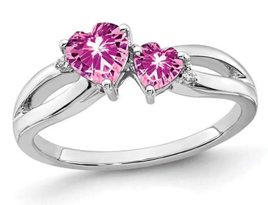 2/3 Carat (ctw) Lab Created Pink Sapphire Heart Ring in 14K White Gold with Diamonds