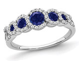 1/2 Carat (ctw) Lab Created Blue Sapphire Ring in 14K White Gold with Diamonds 1/4 carat (ctw)