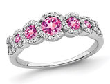 1/2 Carat (ctw) Lab Created Pink Sapphire Ring in 14K White Gold with Diamonds 1/4 carat (ctw)