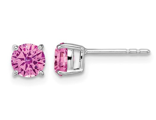 9/10 Carat (ctw) Lab Created Pink Sapphire Solitaire Earrings in 14K White Gold
