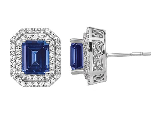 3.00 Carat (ctw) Lab Created Blue Sapphire Solitaire Earrings in 14K White Gold with Lab Grown Diamonds 1.00 carat (ctw)