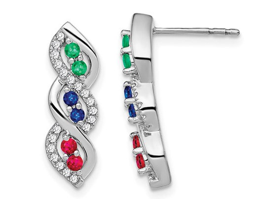 1/3 Carat (ctw) Blue Sapphire, Emerald and Ruby Infinity Earrings in 14K White Gold with Diamonds