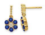 2/3 Carat (ctw) Blue Sapphire Flower Drop Earrings in 14K Yellow Gold