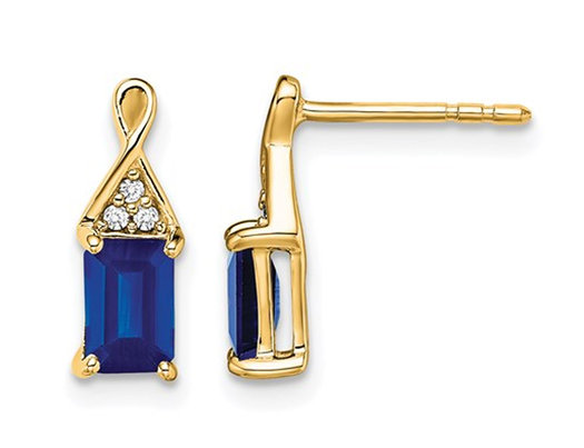 1.00 Carat (ctw) Emerald Cut Blue Sapphire Post Earrings in 14K Yellow Gold