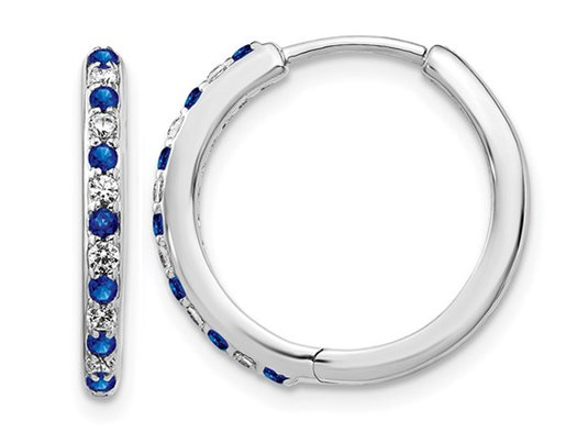 1/5 Carat (ctw) Lab Created Blue Sapphire Hoop Earrings in 14K White Gold with Lab Grown Diamonds
