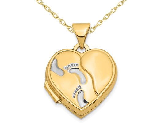 Footprints Heart Locket Pendant Necklace in 14K Yellow Gold with Chain