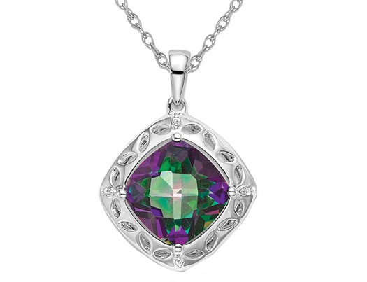 4.25 Carat (ctw) Mystic Fire Topaz Pendant Necklace in Sterling Silver with Chain