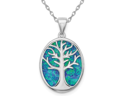 Lab Created Blue Opal Tree of Life Pendant Necklace in Sterling Silver with Chain