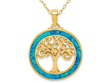 Lab-Created Blue Opal Tree of Life Circle Pendant Necklace in Yellow Plated Sterling Silver with Chain